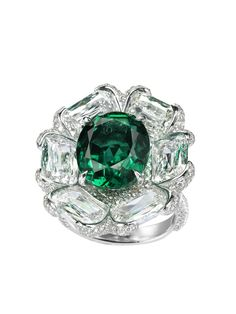 Emerald and diamond ring by Bogh-Art, Geneva