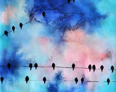 Large Abstract Birds on a Wire Painting par jmichaelpaintings