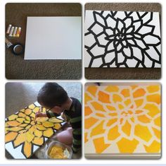 I started with a large Canvas from Michael's. I used Painter's tape to create a flower stencil (it's easier to do than you think and saved me a lot of $, versus buying a stencil). I let my little one paint with yellows and oranges (to match the bedding in my room). I let it dry and peeled the tape off. It now hangs above my bed :)