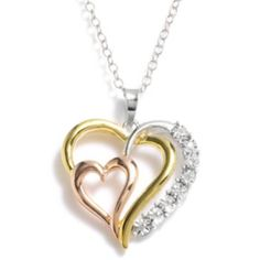 Gold Tone & Rose Gold Tone Over Sterling Silver Diamond Accent Heart Pendant