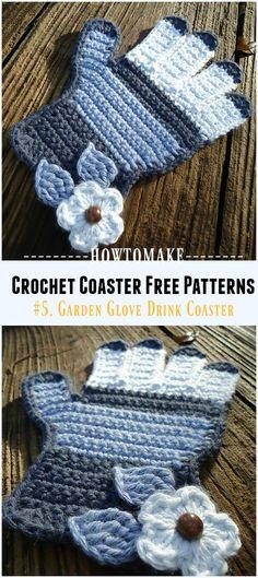 Crochet Garden Glove Drink Coaster Free Pattern - Easy #Crochet Coaster Free Patterns