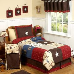 Decorate your child's nursery in this ranch-themed Wild West Cowboy Bedding Set. This 3-piece bedding set has 2 pillowcases and a comforter. They're made of a blend of cotton and microsuede so your little dude is sure to have a comfy night's sleep. The comforter in this kids room bedding set has polyester filling for extra softness. It's a great starting point for a new kid's decor. Machine wash.