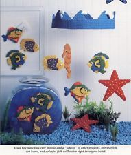 july 1992 issue Sea-sonal Fun Fish Sea Horse Mobile & Fore Golfers Plastic Canvas Pattern NEW