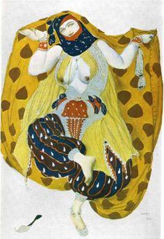 By Leon Bakst, 1 9 1 0, Scheherezade odalisque. (Ballet Russe)