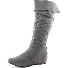 Women's Breckelle's Boston-91 Grey Velvet Wedge Mid Calf Boots, Boston-91 Grey
