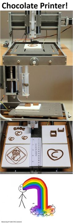 what fun, though there are simpler ways to draw a line with chocolate... chocolate printer!