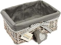 Woodluv Grey Wicker Storage Gift Hamper Basket with Lining - Small: Amazon.co.uk: Kitchen & Home