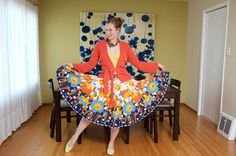 I am in love with this idea of turning a table cloth into a skirt. You skip all the worst parts of sewing - hemming the skirt... Big question though: Where in the world do you find a great table cloth like this one?