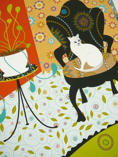 illustration, animal, cat, interior, naive, pattern, design, floral. Grat use of pattern and perspective