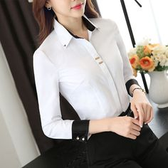 Fashion clothes OL women long sleeve shirt black white slim Patchwork Sequined cotton blouse office ladies plus size formal tops _ {categoryName} - AliExpress Mobile Version - Womens Fashion Casual Summer, Office Fashion Women, Black Women Fashion, Womens Fashion For Work, Work Fashion, Trendy Fashion, Formal Tops, Plus Size Formal, Modele Hijab