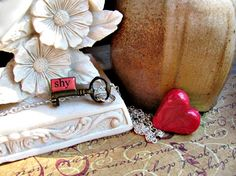 Message Pendant Tiny Key. Shy by RebeccasWhims on Etsy, $9.95