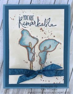 Stampin Up Remarkable You. Copper embossing with a heat tool. Aqua painter watercoloring. Kim Williams, stampinwithkjoyin..., Pink Pineapple Paper Crafts. Beautiful watercolor flowers card for a special friend.