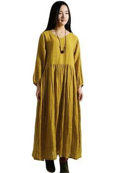 Mustard yellow cotton/linen dress : Mordenmiss on Amazon