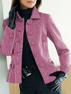 Solid Buttoned Pockets Jacket Plus Size Shawl Collar Coat Warm Outfits, Fall Fashion Outfits, Chic Outfits, Professional Outfits, Fashion Sewing, Blazers, Coats For Women, Blouses For Women, Jackets