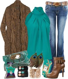 """""""Peacock Feather Earring"""" by gangdise on Polyvore"""