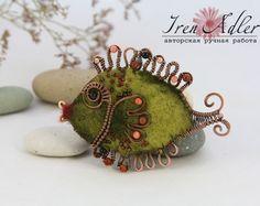 Green Fish Felted Brooch.. .