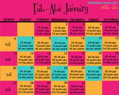 Fab-Abs January, a monthly workout calendar from @shrinkingjeans. #fitness #health #workout #free