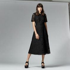 Warehouse, PREMIUM LACE MIDI DRESS Black 1