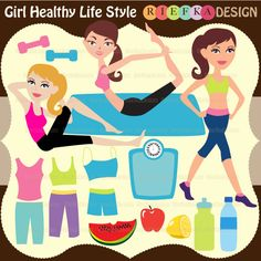 Girl Healthy Life Style - clipart for web graphics, invitations, scrapbooking and more.