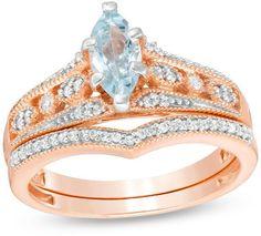 Zales Marquise Aquamarine and 1/5 CT. T.W. Diamond Bridal Set in 10K Rose Gold