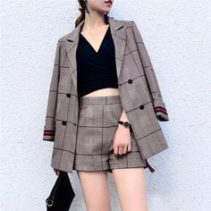 Office Lady Suits For Women Spring Short Pant Suits Women Plaid Pantsuit With Jacket Business., Office Lady Suits For Women Spring Short Pant Suits Women Plaid Pantsuit With Jacket Business Suit Formal Check more at fashionz. Korean Fashion Trends, Korean Street Fashion, Asian Fashion, Trendy Fashion, Womens Fashion, Style Fashion, Ladies Fashion, Korea Fashion, Fashion Fall