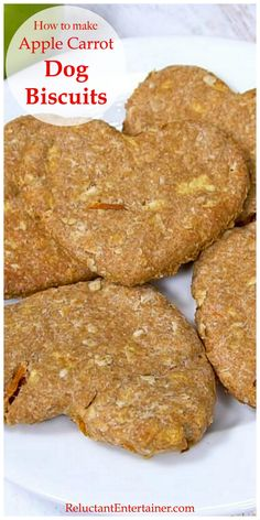 How to make Apple Carrot Dog Biscuits is an easy recipe. Homemade dog biscuits are the perfect hostess gift or stocking stuffer for your dog-loving friends. Dog Cookie Recipes, Easy Dog Treat Recipes, Homemade Dog Cookies, Dog Biscuit Recipes, Homemade Dog Food, Dog Food Recipes, Easy Homemade Dog Biscuits Recipe, Doggie Cookies Recipe, Easy Dog Biscuit Recipe