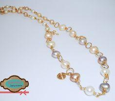 Collares de perlas con oro laminado