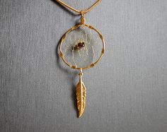 Gold Dream Catcher Necklace with a Garnet Chip, Gold Dreamcatcher, tribal, boho, Native Americana, Garnet Necklace, Garnet Dreamcatcher by OriginalsByCathy on Etsy Cute Jewelry, Diy Jewelry, Beaded Jewelry, Jewelry Design, Dream Catcher Jewelry, Gold Feathers, Beading Techniques, Garnet Necklace, Wire Wrapped Jewelry
