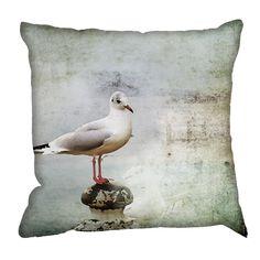 British Seagull Cushion for the beach hut bedroom.