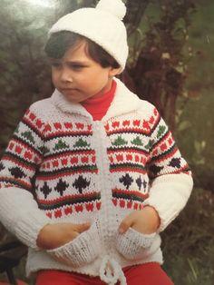 "Knitting Pattern Children Boy Girl Jacket With Pockets And Hat Chunky 22-28"" Chest Vintage PDF by CraftybyLulu on Etsy"