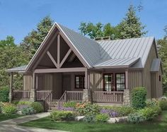 Vaulted front porch, covered deck and a screened porch. Perfect for the front o… Vaulted front porch, covered deck and a screened porch. Perfect for the front of the house! Lake House Plans, House Plans One Story, Cabin Plans, Small House Plans, House Floor Plans, Rustic House Plans, Small Cottage Plans, Rustic Lake Houses, Farmhouse Plans