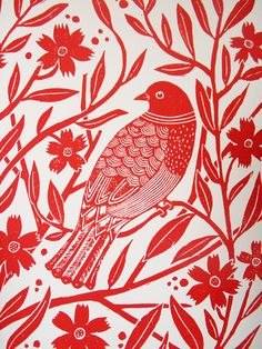 Linocut Block Print  Red bird with flowers by AmeliaHerbertson, $19.50