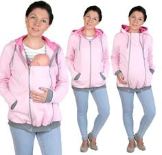 3 in 1 Maternity Multifunctional Kangaroo hoodie/sweatshirt for Mom and Baby , baby carrying carrier jacket PINK