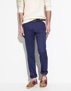 Deep Blue Trousers w/ Side Button Tabs, Zara