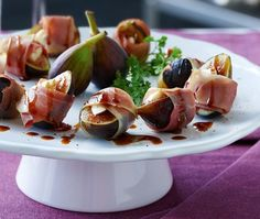 Prosciutto-Wrapped Figs Recipe | from Seriously Simple Parties cookbook | House & Home    Add gorgonzola....yummy!