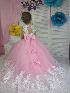 Pink flower girl dress wedding party dress childrens dress for birthday lace toddler dress Pink Flower Girl Dresses, Pink Flowers, Girls Dresses, Birthday Dresses, Wedding Party Dresses, Lace Toddler Dress, Girl Dress Patterns, Handmade Dresses, Baby Birthday