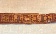 tablet-woven band with animals, found in the reliquary of Balthild (d. c.680), Chelles