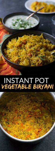 Instant Pot Vegetable biryani is a healthy, one-pot Indian vegetarian rice dish . Instant Pot Vegetable biryani is a healthy, one-pot Indian vegetarian rice dish that comes together in 30 minutes. Make this recipe in your Instant Pot today! Vegetarian Rice Dishes, One Pot Vegetarian, Vegetarian Biryani, Vegetarian Dinners, Vegan Meals, Tasty Dishes, Indian Food Recipes, Healthy Recipes, Ethnic Recipes