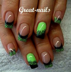 Black and green lace nails