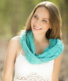 Turquoise Chevron Scarf, Hand Knit Chevron Scarf, Infinity Scarf for Women in Turquoise, Women's Summer Scarf