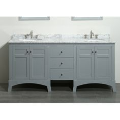 "Eviva New York® 72"" bathroom vanity is one of the best bathroom furniture pieces ever made in terms of quality and design. The doubled marble Carrera top maintains strength, ensures longevity, and satisfies bathrooms. The finish on this vanity cabinet makes it unique among the other bathroom vanities available in the market. Eviva New York is one of the best-selling 72"" double sink grey bathroom vanity available in the U.S. Market. In the double sink bathroom vanities category, the ..."