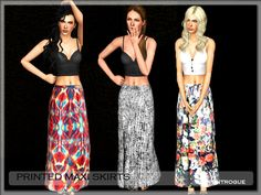 Printed Maxi Skirts by Serpentrogue - Sims 3 Downloads CC Caboodle