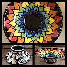 Hand painted Mandala Decorative Stoneware by DawnDavareDesigns, $75.00
