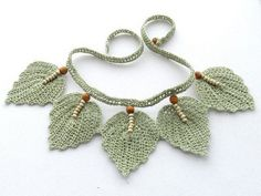 RESERVED for Cathy – Crochet Necklace – Natural Linen Necklace Choker Leaves Crochet Necklace Natural Linen Necklace Choker by CraftsbySigita, Crochet Leaves, Crochet Motifs, Bead Crochet, Crochet Crafts, Crochet Flowers, Crochet Projects, Crochet Earrings, Bead Earrings, Crochet Jewelry Patterns