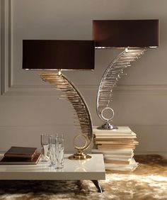 Luxury Designer Gold & Silver Plated Feather Table Lamps
