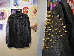 Vintage 90s Upcycled Gap Punk Spiked Black Leather by Skella, $66.00