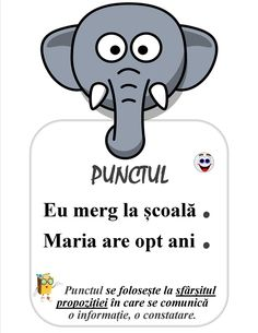 Semne de punctuație pentru clasa întâi, planșe de afișat în clasă: punctul, semnul întrebării, linia de dilog, semnul exclamării Romanian Language, Little Einsteins, Student Information, Teacher Supplies, School Staff, Education Quotes, Preschool Activities, Kids And Parenting, Classroom