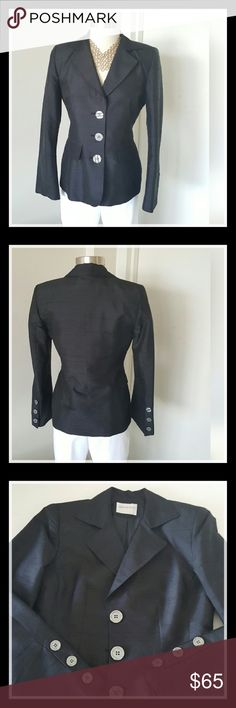 Hugo Buscati Black 100% Silk Blazer. Perfection. Hugo Buscati Black Silk Blazer. This has to be one of the prettiest things I have brought into my closet. It is total perfection. Sharp and precise. Also, like a lot of the other pieces, can go with almost anything you already have in your closet, casual or dressy.  See photo slot four  for material and sizes. Please look over photos and descriptions carefully. This item may not be returned. Re-posh. Thank you for visiting my closet. Hugo…