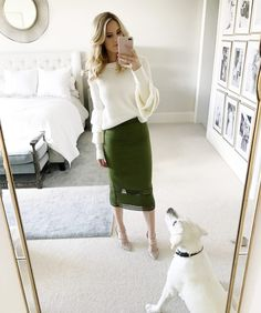 Life Lately | Ivory Lane | Club Monaco top (sold out, similar here and here), Rachel Parcell skirt, Valentino pumps