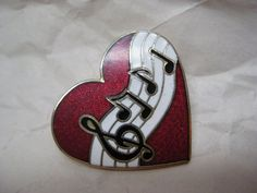 Love Music Heart Brooch Red White Enamel by vintagejewelryalcove, $9.50